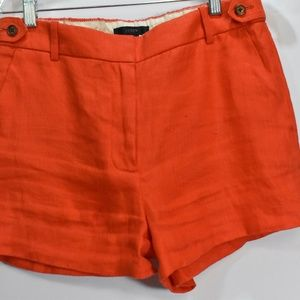 J. Crew Orange Linen Shorts Pockets 4